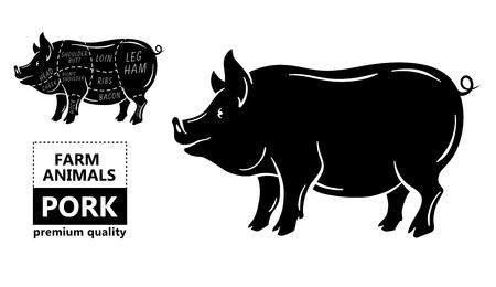 Pork meat part sets for poster butcher diagram on silhouette black with white background illustration. Ilustração Vetorial