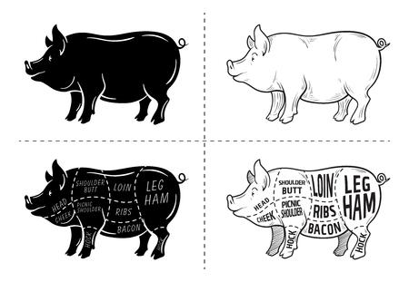 Pork meat part sets for poster butcher diagram on black and white illustration. Ilustração Vetorial
