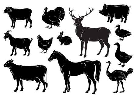 Farm animals icons set. Collection of labels