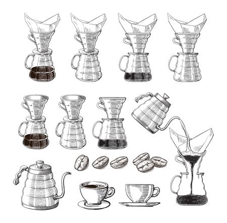 icona alternativa del creatore di caffè rovesciato. dispositivo per la preparazione del caffè. illustrazione vettoriale