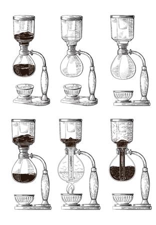 Vector Syphon illustration. Hand sketched maker for alternative coffee brewing. Cafe restaurant menu design concept.