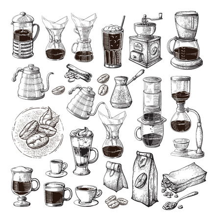 different alternative brewing for coffee set collection syphon chemex cezve pour vector illustration Çizim