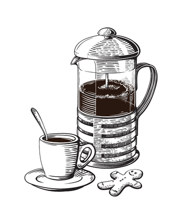 French press. Coffee cup with roasted beans and gignger cookie
