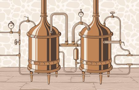 Croquis d'appareil de distillation vintage. Processus de distillation d'illustration vectorielle Moonshine