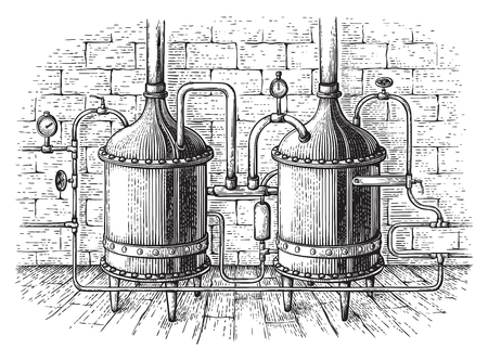 Vintage distillation apparatus sketch. Moonshine vector illustration distillation process