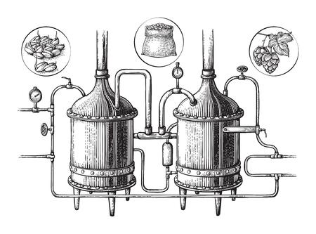 Vintage distillation apparatus sketch. Moonshine vector illustration distillation process