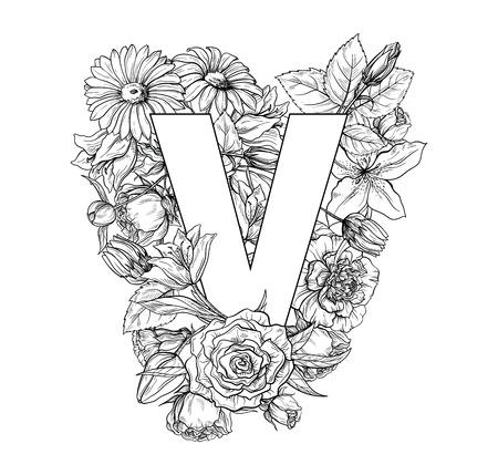 Alfabeto de flores vintage. Dibujado a mano ilustración vectorial aislado sobre fondo blanco. Mi cartera tiene otras letras.