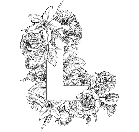 Vintage flower alphabet. Hand drawn vector illustration Isolated on white background. My portfolio have other letters. Çizim