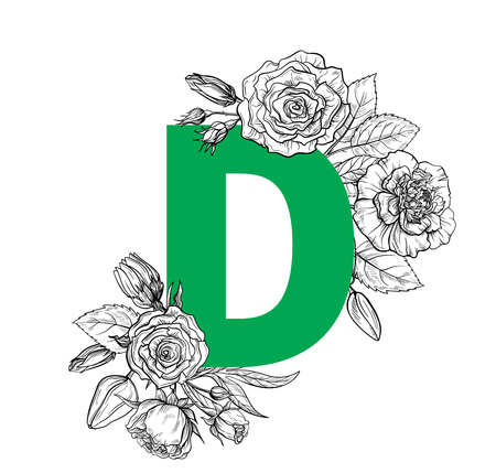 Vintage flower alphabet. Hand drawn vector illustration Isolated on white background. My portfolio have other letters.  イラスト・ベクター素材