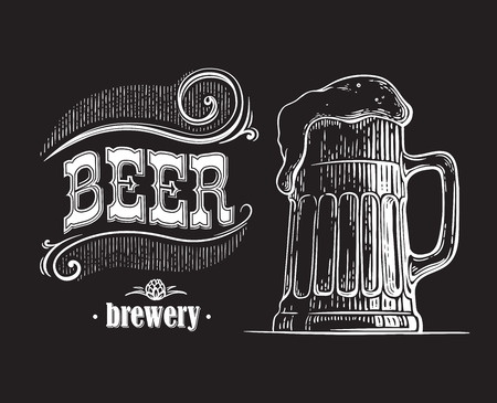 beer mug filled with beer. Vintage vector engraving sketch illustration for web, poster, invitation to party. Hand drawn design element isolated on black background.