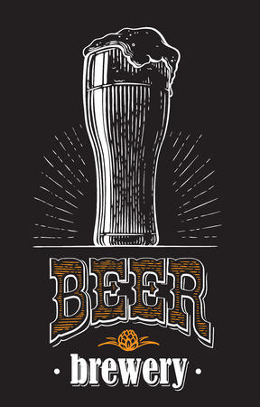 beer glass filled with beer. Vintage vector engraving sketch illustration for web, poster, invitation to party. Hand drawn design element isolated on black background.
