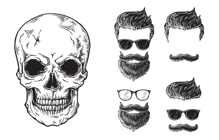 Set of bearded men faces, hipsters with different haircuts mustaches beards skull. Silhouettes emblems icons labels.