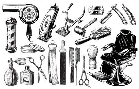 Set di barbiere vintage emblemi etichette distintivi forbici lama pennello pole. Isolato su sfondo bianco. Vettoriali