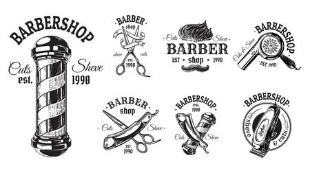 Set di barbiere vintage emblemi etichette distintivi forbici lama pennello pole. Isolato su sfondo bianco.