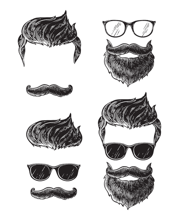 Set of bearded men faces, hipsters with different haircuts mustaches beards. Silhouettes emblems icons labels. Illustration