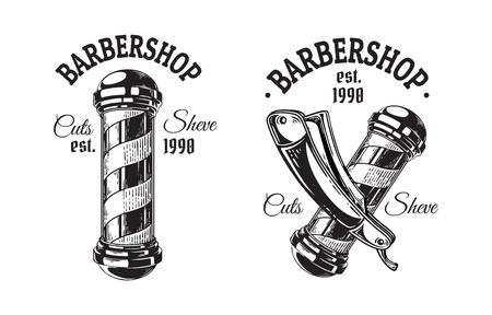 Satz Vintage Barbershop Embleme Etiketten Abzeichen Stange Klinge. Auf weißem Hintergrund isoliert. Vektorgrafik