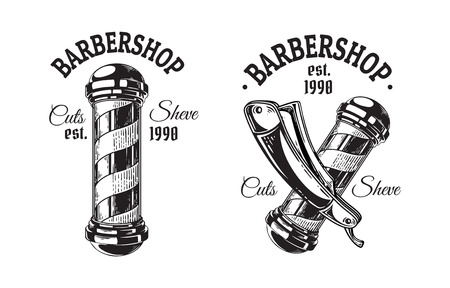 Set of vintage barbershop emblems labels badges pole blade. Isolated on white background.