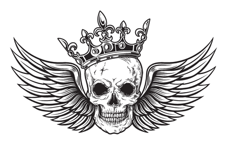 Human skull with wings and crown for tattoo design. vector illustration Ilustração