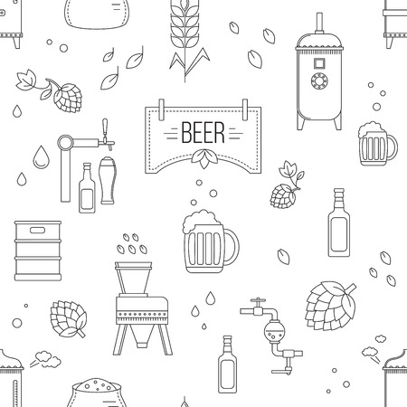 Beer production pattern seamless stage. Vector illustration