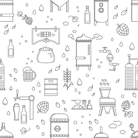 Beer production pattern seamless stage. Vector illustration Illustration