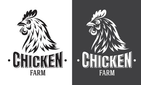 Hühnerfarm-Emblem auf weißem Hintergrund. Vektorillustration