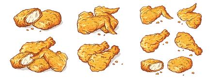 skrzydełka nogi i bryłki smażonego kurczaka na białym tle zestaw ilustracji wektorowych Ilustracje wektorowe