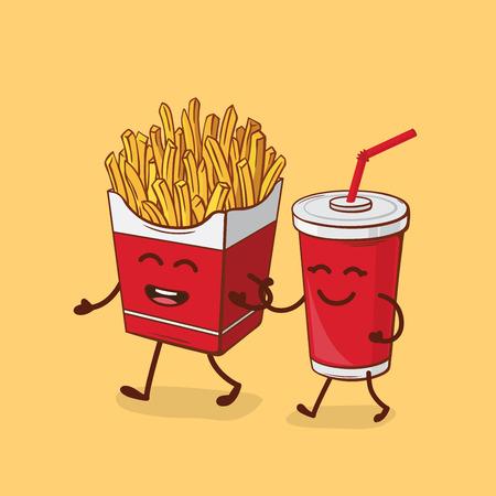 Amici per sempre. Patatine fritte e cola Illustrazione del fumetto di vettore