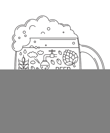 brewing icons in silhouette of beer mug. Vector illustration
