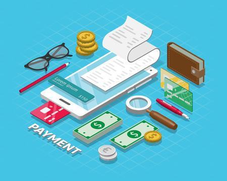 Isometric online payment online concept. Internet payments, online bank. Vector illustration 免版税图像