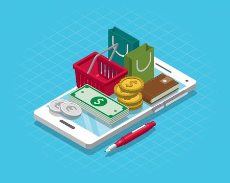 Isometric Smart phone online shopping concept. Vector illustration 免版税图像