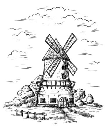 village near a wheat field and a windmill drawn by hand vector illustration