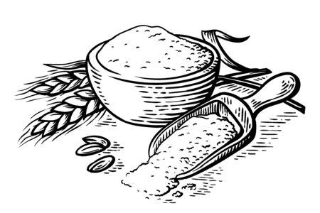 fresh flour wooden dish scoop on white background vector illustration