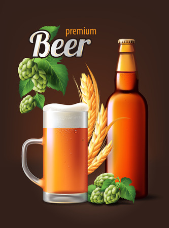 Beer Poster template for classic white beer ad package design. Vector glass bottle and cup with beer 3d illustration