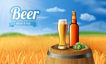Beer Poster template for classic white beer ad package design. Vector glass cup with beer on wood barrel 3d illustration