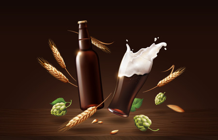 chin chin dark beer in glass cup and bottle with wheat and hops, refreshing drink with white foam in 3d illustration, splashing beer vector illustration