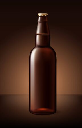 black porter beer bottle glass isolated on background. Vector packaging mockup with realistic bottle