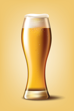 Beer Poster template for classic white beer ad package design. Vector glass cup with beer 3d illustration