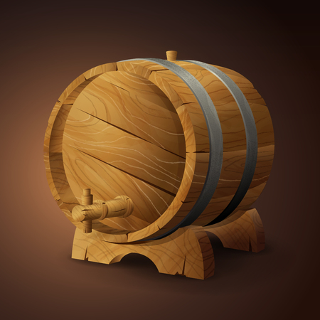 old wooden barrel on rack with wood stopcock front view isolated on background vector illustration