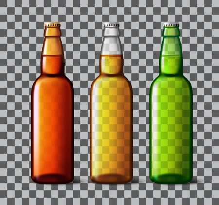 Beer bottle glass isolated on background. Vector packaging mockup with realistic bottle