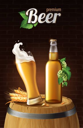 light lager beer in glass cup and glass bottle on wood barrel with wheat, refreshing drink with white foam in 3d illustration, splashing beer vector illustration Stock Photo
