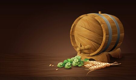wood barrel with wheat and hops in 3d vector illustration