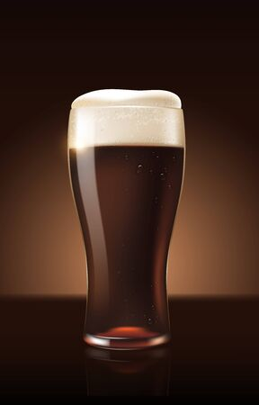 Dark porter beer in glass cup refreshing drink with white foam in 3d illustration, splashing beer vector illustration