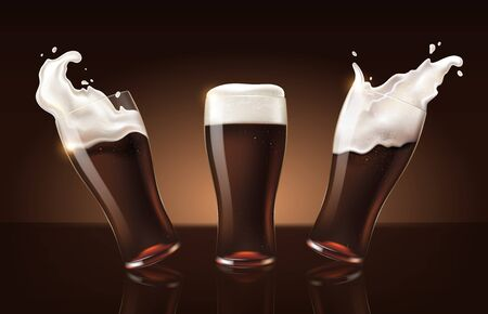 set dark porter beer in glass cup, refreshing drink with white foam in 3d illustration, splashing beer set vector illustration