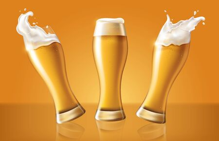 set light beer in glass cup, refreshing drink with white foam in 3d illustration, splashing beer set vector illustration