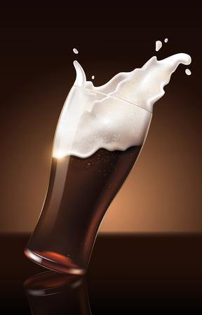 Dark beer in glass cup, refreshing drink with white foam in 3d illustration, splashing beer vector illustration Ilustração