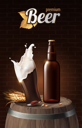 Dark porter beer in glass cup and glass bottle on wood barrel with wheat, refreshing drink with white foam in 3d illustration, splashing beer vector illustration