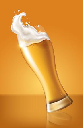 cerveza ligera en vaso, bebida refrescante con espuma blanca en la ilustración 3d, salpicaduras de cerveza ilustración vectorial