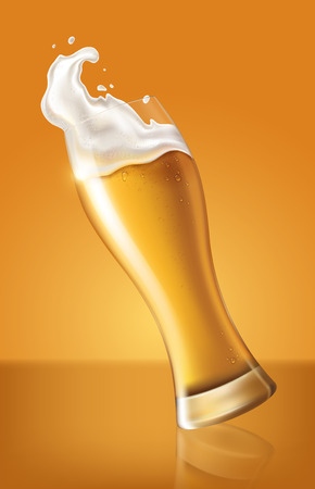 light beer in glass cup, refreshing drink with white foam in 3d illustration, splashing beer vector illustration
