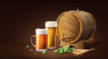lager beer in glass cup and wood barrel with wheat and hops, refreshing drink with white foam in 3d illustration, splashing beer vector illustration