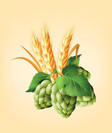 Wreath with hops and wheat. Floral composition with cones, leaves and branches. Isolated elements. Vintage hand drawn illustration in watercolor style.